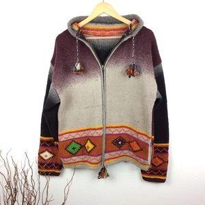 Handmade Wool Long Hood Sweater Coat